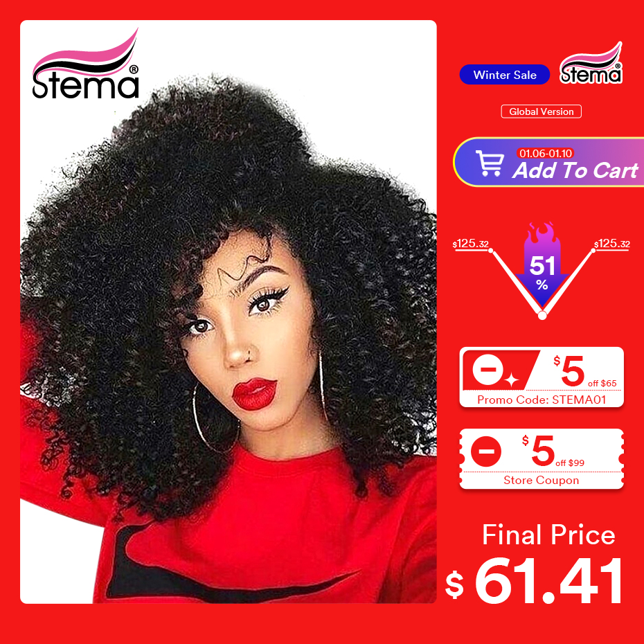 Stema Afro Kinky Curly Wig 13x4 Lace Front Wig 8-30Inch Pre Pluck With Baby Hair 150% Brazilian Human Hair Wigs For Black Women
