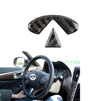 Carbon Fiber Car Interior Steering Wheel Sticker Cover Trim Logo Decor For Infiniti Q50 Q60 2014 -2019 Car Styling Accessories image