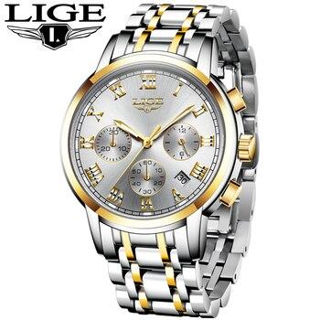 цена на LIGE Men Watches Top Luxury Brand Full Steel Waterproof Sport Quartz Watch Men Fashion Date Clock Chronograph Relogio Masculino