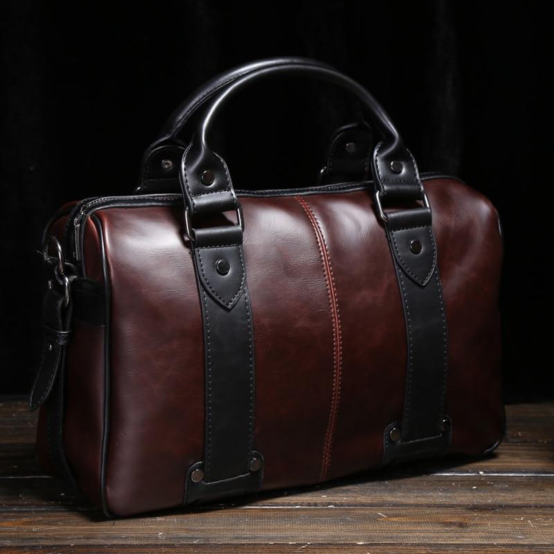 New Fashion Men's Shoulder Bag Crazy Horse Leather Crossbody Bag Portable Multi-function Trend Travel Bag Commuter OL Briefcase