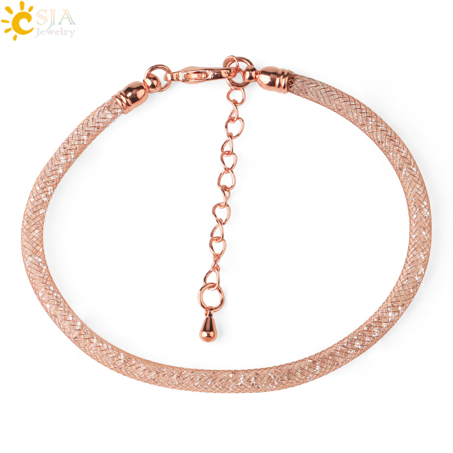 CSJA Rose Gold <font><b>Silver</b></font> Color Clasp Charms <font><b>Bracelet</b></font> on Hand for Women 2020 Crystal Beads <font><b>Tube</b></font> Mesh Female <font><b>Bracelets</b></font> Pulseras S665 image