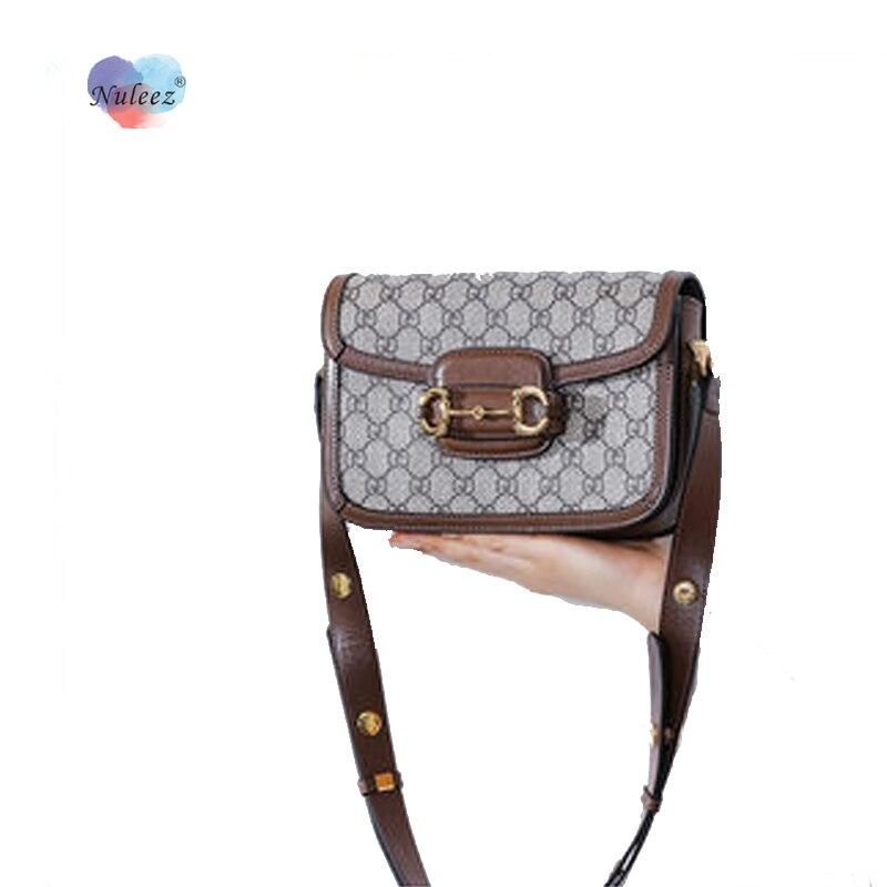 Nuleez Canvas Saddle Bag Women Cowhide Big Size Shoulder Bag Famous Star Popular Bag Vintage Bag New Style