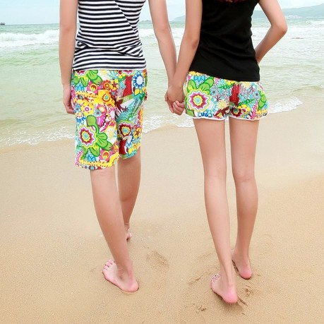 Korean-style Sunflower Couples Large Size Quick-Dry Casual Pants Couples Beach Shorts Fashion MEN'S Shorts Hot Pants Boardshort