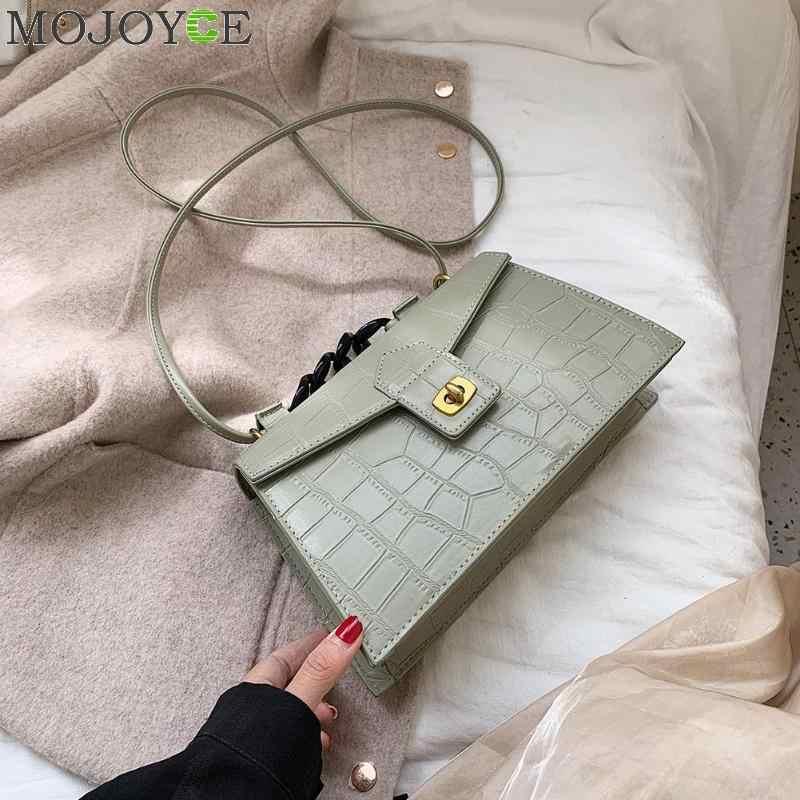 Frauen Mode Taschen Stein Muster PU Leder Schulter Umhängetasche Dame Umhängetasche Weibliche Krone Abend Taschen mit kette