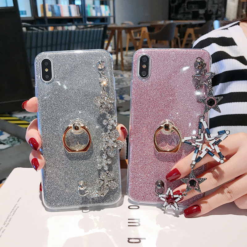 Gliiter <font><b>Cases</b></font> For Samsung Galaxy S10 S9 S8 Plus S10E S5 S7 S6 Edge Plus <font><b>Note</b></font> <font><b>9</b></font> 8 5 Bling <font><b>Ring</b></font> Bracelet Covers Bumper I9600 image