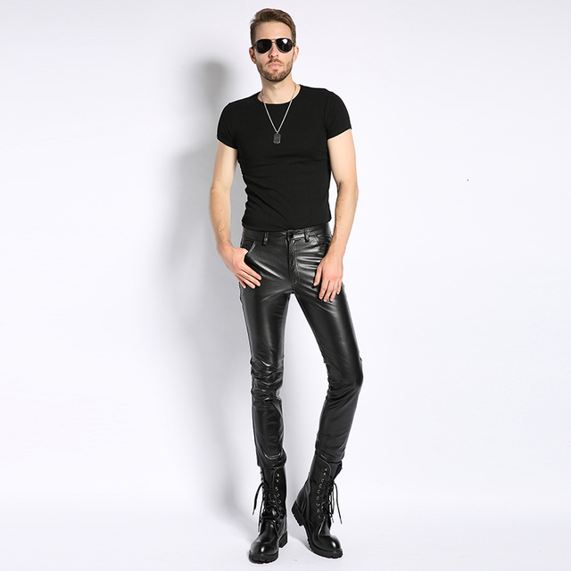 Plus Size 6XL Mens Pantalon Autumn 2020 New Fashion Real Leather Trousers Motorcycle Casual Slim Fleece Lining Warm Pants Male 4