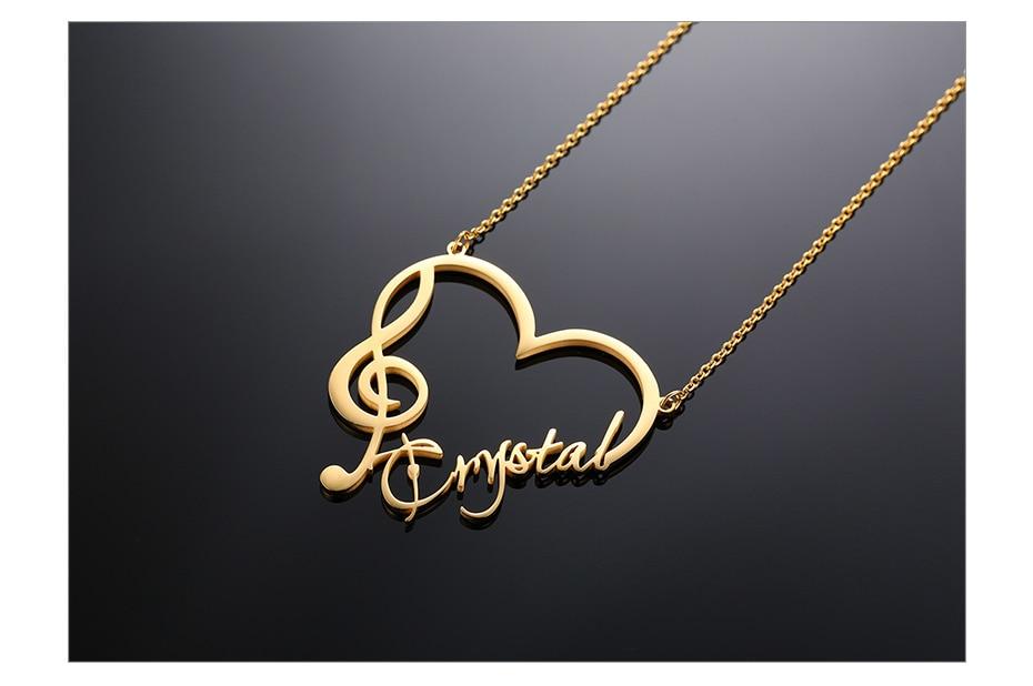 Personalisierter, eleganter Anhänger Herz, Violinschlüssel und eigenen Namen