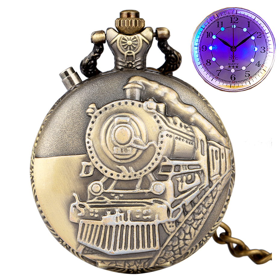 Luminous Vintage LED Dial Quartz Pocket Watch Bronze Carved Steam Train Steampunk Motor Railway Retro Chain Pendant Clock Hours