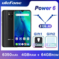 Ulefone Power 6 Smartphone Android 9.0 Helio P35 Octa-core 6350mAh 6.3 4 GB 64GB NFC mobiele Telefoon 4G Wereldwijde Mobiele Telefoon Android