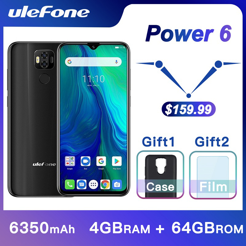 Ulefone Power 6 Smartphone Android 9.0 Helio P35 octa-core 6350mAh 6.3 4 GB 64GB NFC téléphone portable 4G téléphone portable mondial Android