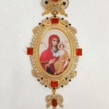 Крестообразное ожерелье с красным цирконом, кристаллами, греческим распятием, ювелирное изделие, грудной крест, цепь, религиозные ремесла