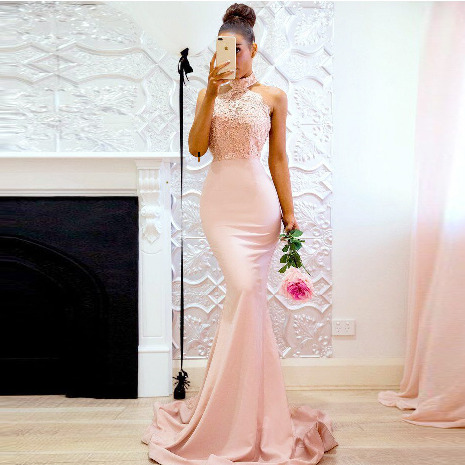 Pink Lace Mermaid Evening Dress Appliques Beaded Halter Neck Honor Of Maid Dress Long Sexy Backless Formal Party Dresses