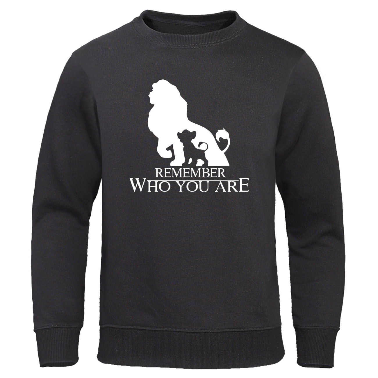Remember Who You Are Letter Print Pullover The Lion King Cartoon Hoodies Homme Streetwear Men's Sweatshirt Autumn Fleece Hoody