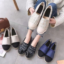 Women Flat Shoes 2019 Spring Designers Casual Tweed Shoes Women Slip On Loafers Comfortable Canvas Hemp Fisherman Shoes veowalk striped women casual cotton cloth loafers handmade slip on ladies thick hemp soled canvas flat shoes zapato mujer