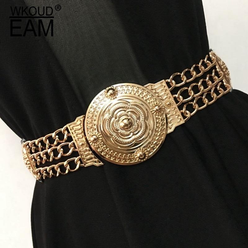 WKOUD EAM 2020 New Fashion Autumn Corset Belt For Women Korea Style Casual Trendy Cortical Metal Splicing Girdle Female ZJ926