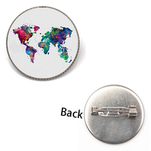New Style Map Badge World Brooch Rainbow Multicolored Jewelry Round Glass Shirt Clothes Lapel Pin Backpack Female Gifts