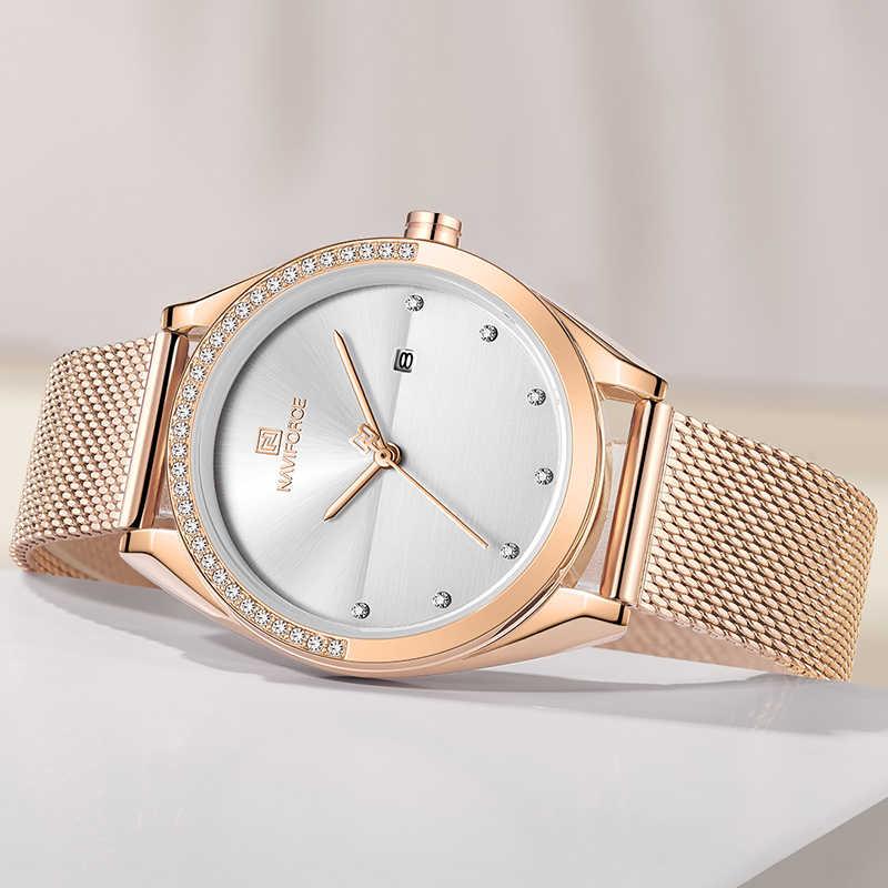 NAVIFORCE זהב שעון נשים קוורץ שעונים גברת עמיד למים שעוני יד נשים צמיד נשי שעון Relogio Feminino Montre Femme