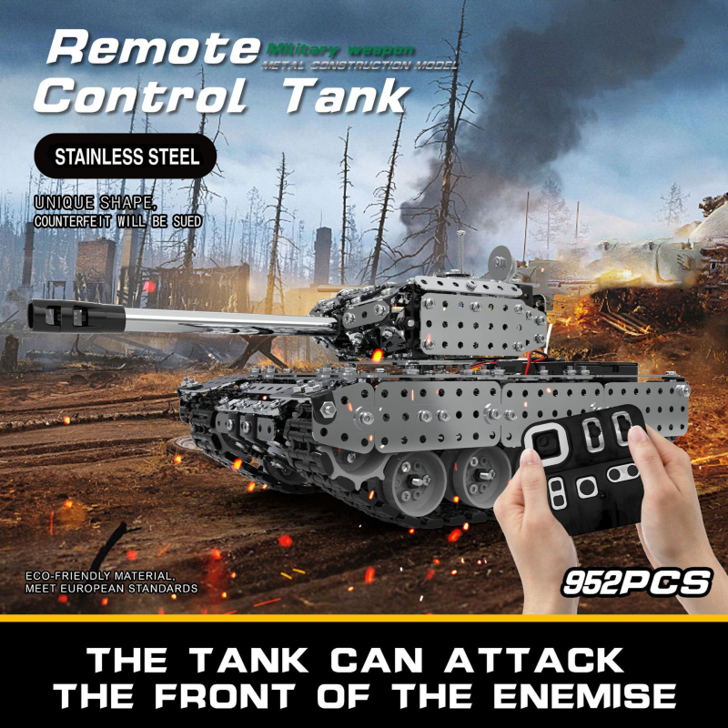 10CH Stainless Steel Building Block Assembly RC Tank Omidirectional Drive In Situ Rotation Rotate Turret Electric DIY Puzzle Toy