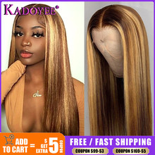 Honey Blonde Lace Front Wig Human Hair 13x4 Highlight Straight Lace Front Wig Pre Plucked Malaysian Remy Closure Wigs for Women