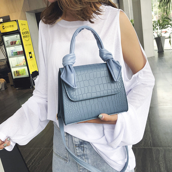 Stone Pattern PU Leather Crossbody Bags For Women 2020 Luxury Shoulder Messenger Bag Lady Totes Bow Design Handle Handbags Lady foxer brands leather women handbags luxury totes new design women bag fashion lady messenger bags shoulder bag for female
