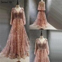 Dubai rosa com decote em v sexy a line vestidos de noite 2020 mangas compridas cristal flores artesanais vestidos formais sereno hill la70339