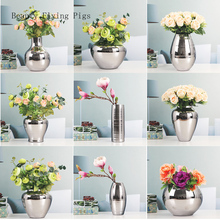 Home TV cabinet dining table living room decoration furnishings light luxury home soft workmanship art silver vase with flowers