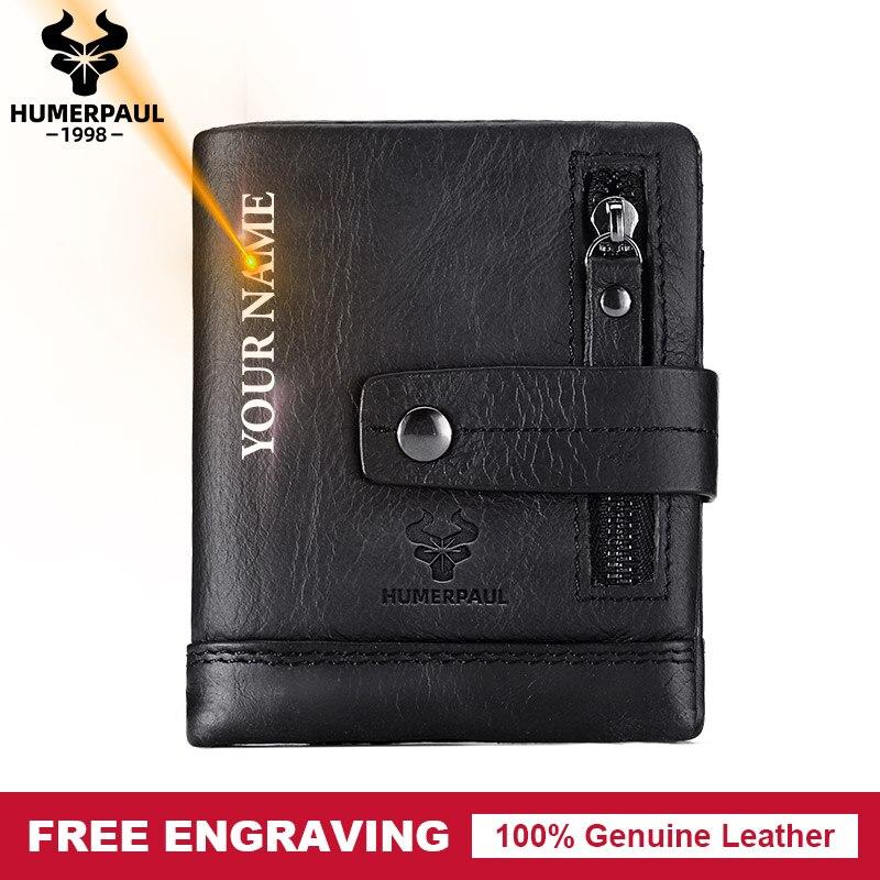 Free Engraving Gift Genuine Leather Men Wallet Coin Purse Small Card Holder PORTFOLIO Portomonee Male Walet Pocket For Money Bag