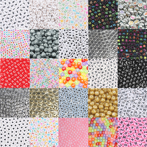 200/300/500pcs Mixed English Round Square Letter Beads Heart Alphabet Beads Acrylic Beads for Jewelry Making DIY Accessories