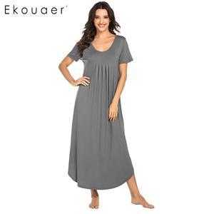 Image 1 - Ekouaer Vrouwen Lange Nachtjapon Loungewear Jurk Nachtkleding O hals Korte Mouwen Effen Nachtkleding Nacht Jurk Vrouwelijke Sleepshirts