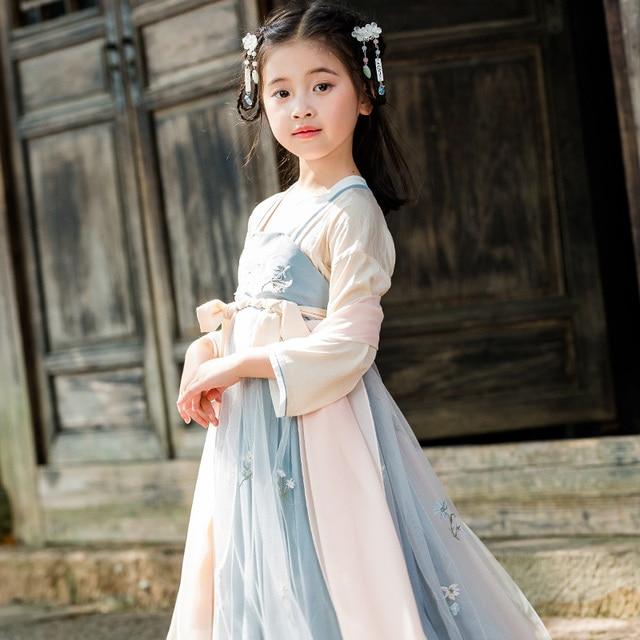 Antique traditionnel chinois filles élégant Hanfu robe enfants fée broderie scène Flok danse Costume rétro Tang dynastie Qipao