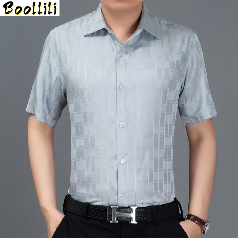 Boollili 2010 New Summer Men Shirt Short Sleeve Plaid 100% Silk Shirt Men Formal Shirts Social White Camisa Masculina