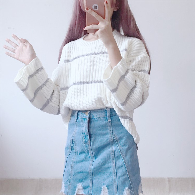 Focal20 Streetwear Hit Color Stripe Women Sweater Loose Crew Neck Girl Pullovers Jumpers Cute Casual Autumn Lady Sweaters Tops 1