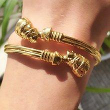 Ouro de aço inoxidável ajustável sorte pulseiras para mulheres homem jóias presente rainha egípcia nefertiti pulseiras africanas manguito pulseira