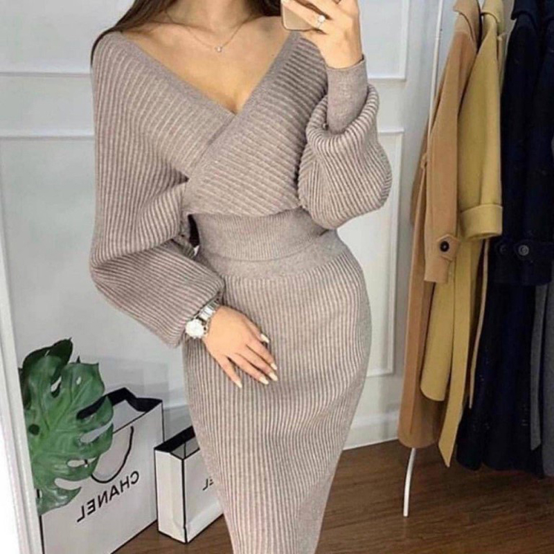 2019 V-neck Knitting Sweater Women Set 2 Piece Pullovers Skirt Outfits For Women Suit Casual Shoulder Off Top Pack Hip Women Set