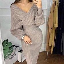 2019 v yaka örgü kazak kadınlar Set 2 parça kazaklar etek kıyafetler kadın takım elbise rahat omuz kapalı en paketi kalça kadın seti