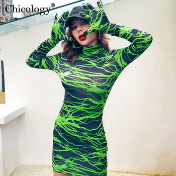 Neon lightning print Mini dress 4