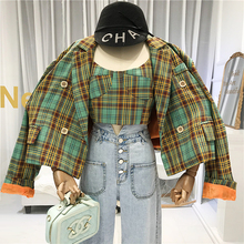 2019 FALL Women Jackets +crop Top Coats and High Street  Plaid Turn-down Collar Loose 2 Piece Fashion