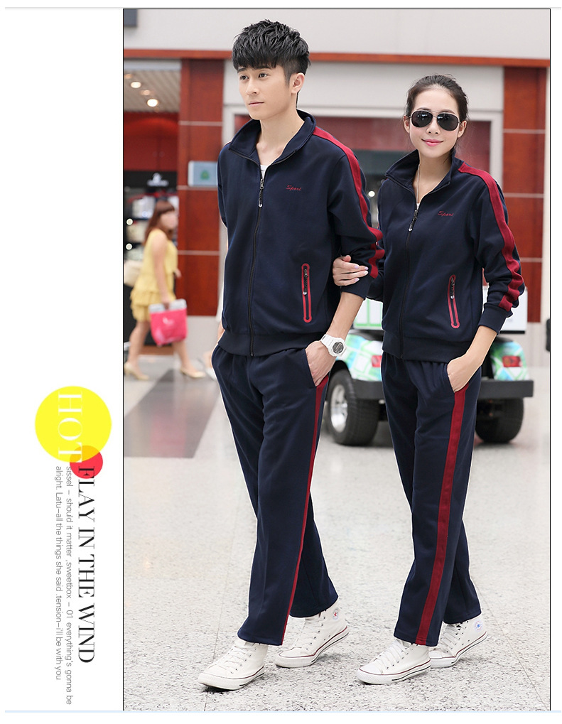 Spring And Autumn COUPLE'S Casual Sports Clothing Set Korean-style Trend Youth Students Coat