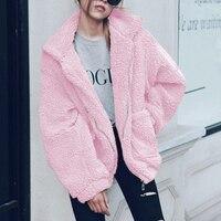 Женская Толстая теплая флисовая куртка с карманами, пальто на молнии, верхняя одежда, пальто, зимние мягкие Меховые куртки, женское плюшевое...