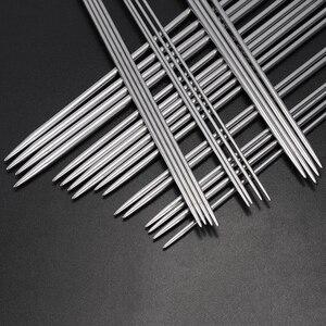 Image 2 - 35 개/대 20cm 스트레이트 뜨개질 바늘 뜨개질을위한 스테인레스 스틸 크로 셰 뜨개질 후크 diy 직조 도구 바느질 액세서리