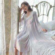 Новинка 2021 женская ночная рубашка с длинным рукавом из двух