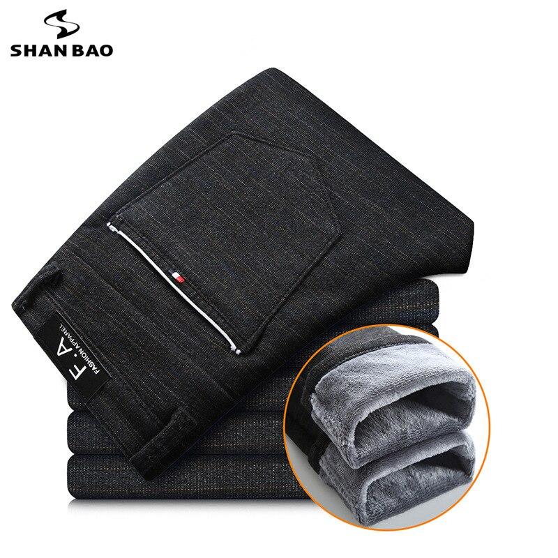 Plus Velvet Thick Warm Straight Slim Casual Pants 2019 Winter New Brand Men's Micro-elastic Fashion Trousers Black Gray Blue