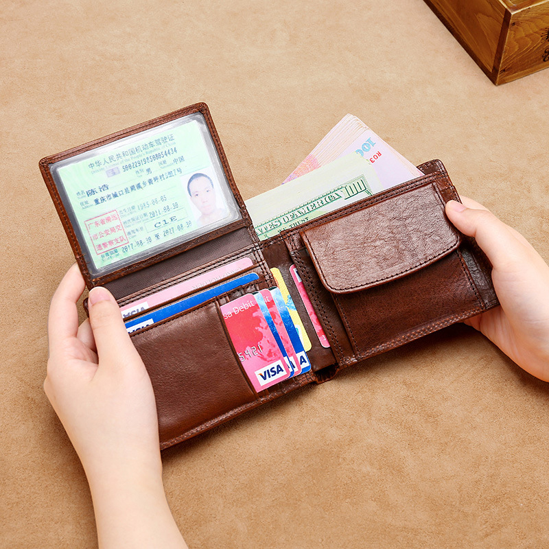 DIENQI Real Cow Genuine Leather Men Wallets Brown Money Pocket Bag Trifold Wallet Male Short Zipper Coin Purses Small Hand Walet