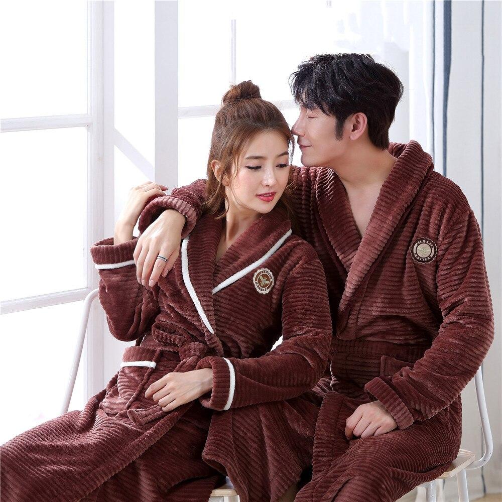 Winter Lovers Flannel Kimono Robe Gown Homewear Keep Warn Soft Bath Gown Sleepwear Casual Plus Size Men Nightwear Pajamas