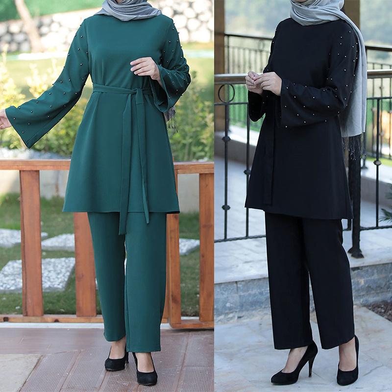 Muslim 2 Piece Sets Women Abaya Dubai Lace up Tops and Wide Leg Pants Kaftan Eid Pakistan Turkey African Prayer Islamic Clothing