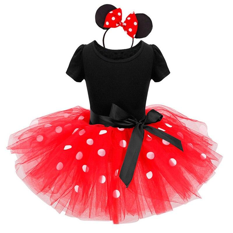 Girls Costume Mini Tutu Dress Ballet Princess Dresses Polka Dot Birthday Outfits Headband Kids Summer Clothes Vestidos 2