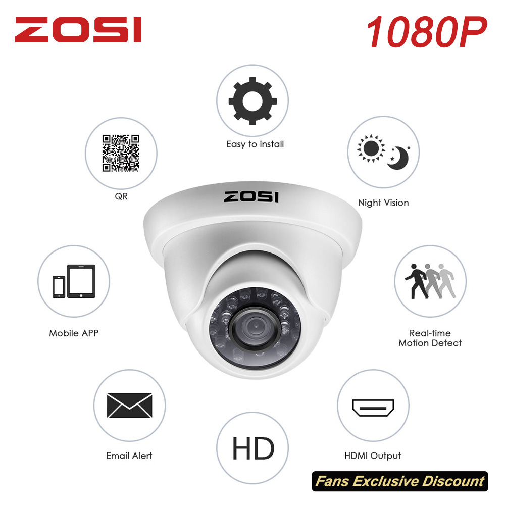 ZOSI 1080P 2MP 4-in-1 CVi TVI CVBS AHD CCTV System Dome Video Nightvision Camera BNC Cable for Window Remote View DVR Kit