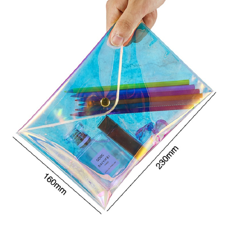 2020 New  Waterproof Laser Holographic Clear Shining Sequin Plastic PVC Button Envelope Flap Document Gift Case Cosmetic Bag