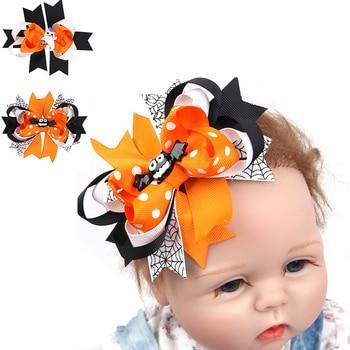 цена на 2pcs Baby Halloween Hairpins Flower Bow Small Barrettes Newborn Cute Headwear Kids Girls Hair Clips Headband Hair Accessories
