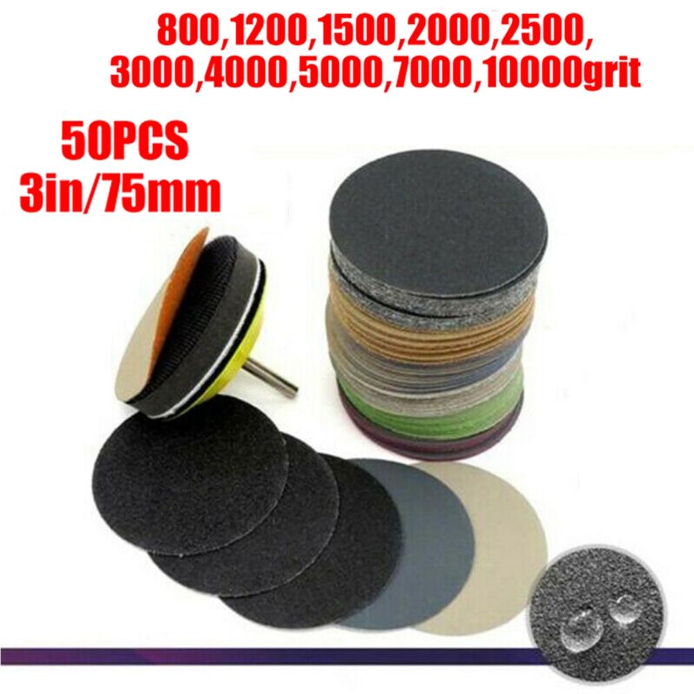 50pcs Kit 3 Inch Wet Dry Sandpaper Hook Loop Round Sanding Discs Abrasive Pads 800/1200/1500/2000/2500/3000/4000/ 5000/7000/1000